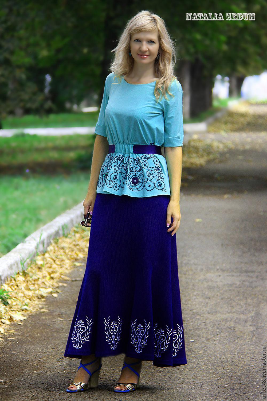 """Юбки ручной работы. Ярмарка Мастеров - ручная работа. Купить Вязаная стильная юбка """"Агат"""". Handmade. Машинная вышивка"""