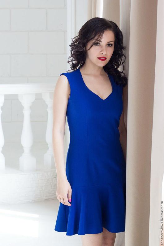 """Платья ручной работы. Ярмарка Мастеров - ручная работа. Купить Платье """"Стиль"""". Handmade. Тёмно-синий, платье с воланами"""