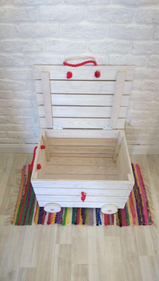 """Детская ручной работы. Ярмарка Мастеров - ручная работа. Купить Ящик для игрушек с крышкой на колесиках  """"Бинго-Бонго"""". Handmade. Белый"""