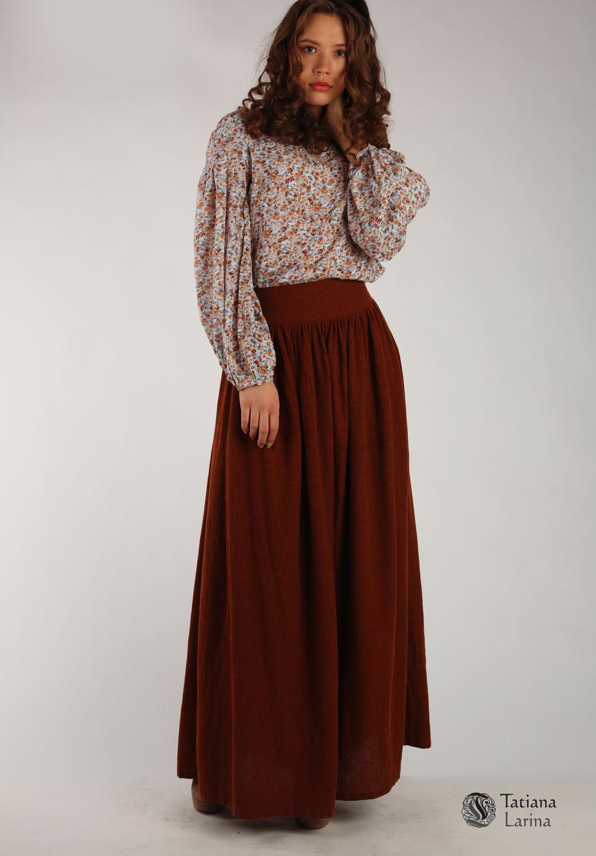 Длинная коричневая юбка с чем носить фото
