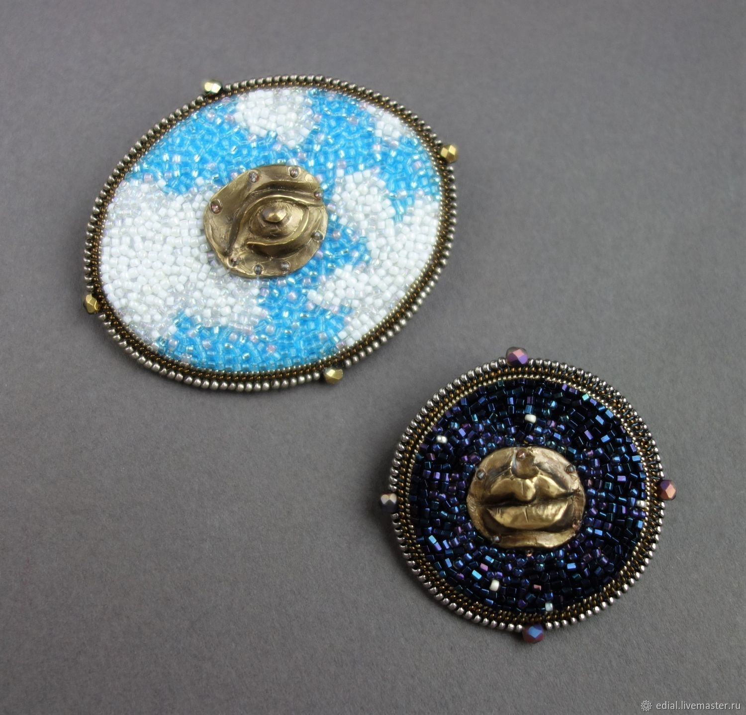 Brooch set DAY and NIGHT beads, rope, brass, leather, Brooch set, Moscow,  Фото №1