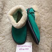 Обувь ручной работы handmade. Livemaster - original item Chuni made of fur lambskin green. Handmade.