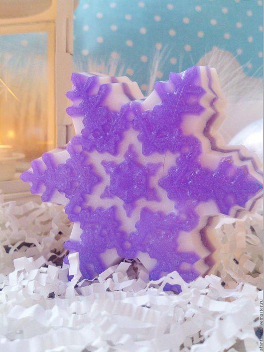 """Мыло ручной работы. Ярмарка Мастеров - ручная работа. Купить Новогоднее мыло ручной работы """"Морозная снежинка"""". Handmade."""