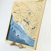 Картины и панно handmade. Livemaster - original item Map of the depths of Adler, Olympic Village. Sochi, Russia. Sirius.. Handmade.
