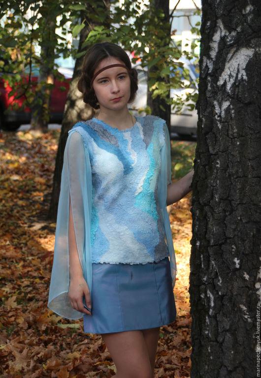 Блузка женская валяная `Дуновение` шелк+шерсть .Марина Печенюк валяная одежда.Ручная работа.