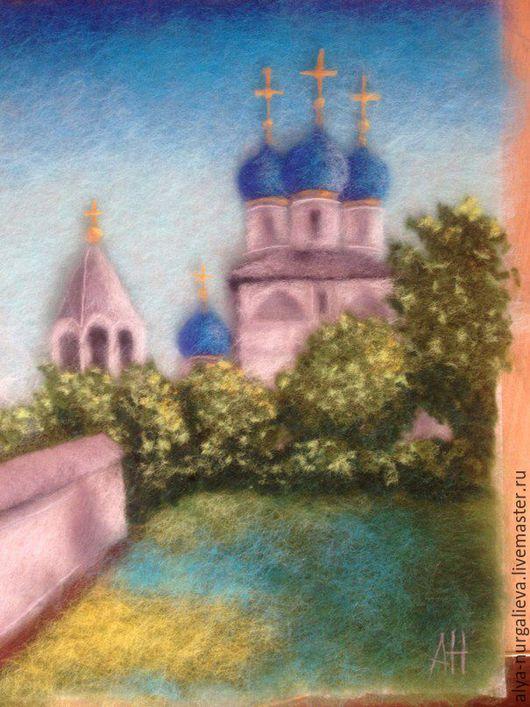 Пейзаж ручной работы. Ярмарка Мастеров - ручная работа. Купить Собор. Handmade. Синий, картина в гостиную, церковь, шерстяная картина