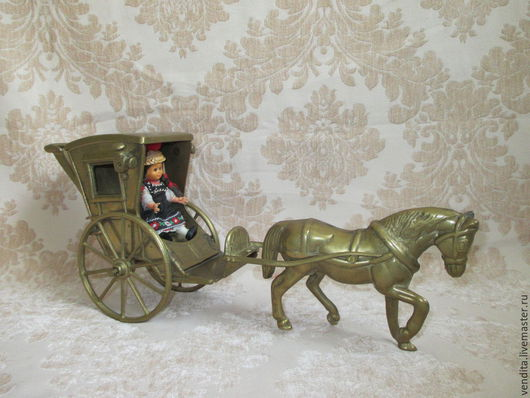 Винтажные предметы интерьера. Ярмарка Мастеров - ручная работа. Купить Старинная фигура- лошадка,карета. Handmade. Золотой, винтажный стиль