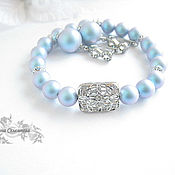 Украшения handmade. Livemaster - original item Set with Swarovski pearls iridescent light blue