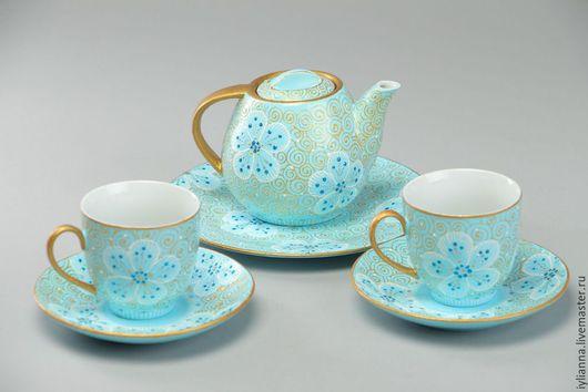 Сервизы, чайные пары ручной работы. Ярмарка Мастеров - ручная работа. Купить Чайный сервиз «Фантазия». Handmade. Голубой