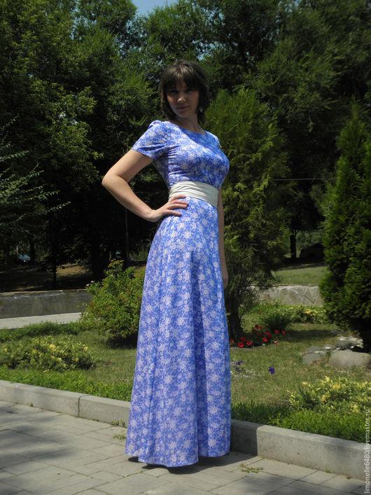 Платья ручной работы. Ярмарка Мастеров - ручная работа. Купить Платье в пол. Handmade. Синий, повседневное платье, платье
