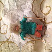Куклы и игрушки ручной работы. Ярмарка Мастеров - ручная работа ватная елочная игрушка в Мальчик на лыжах. Handmade.