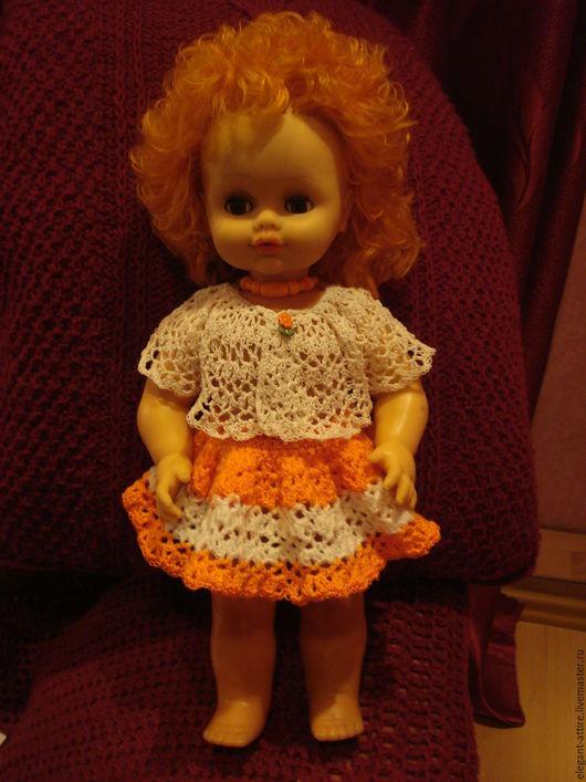 """Одежда для кукол ручной работы. Ярмарка Мастеров - ручная работа. Купить Нарядный ажурный костюм для куклы """"Апельсинка"""". Handmade. Мягкий"""