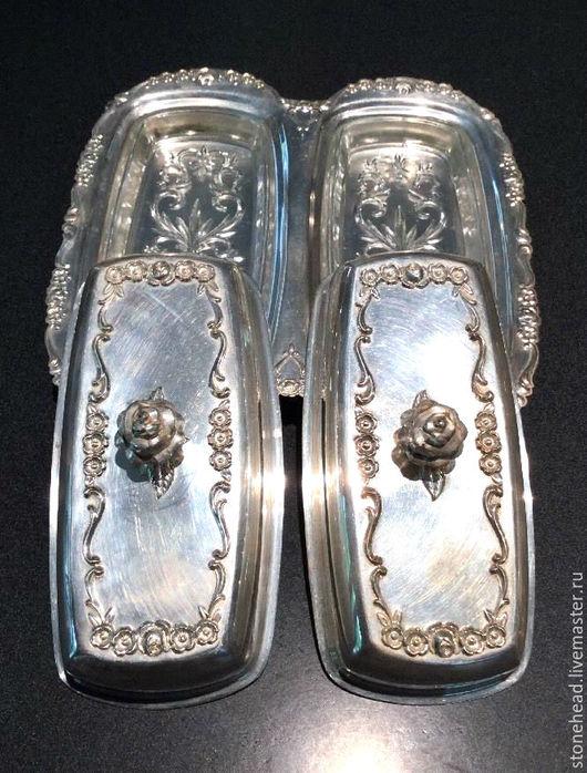Винтажная посуда. Ярмарка Мастеров - ручная работа. Купить Антикварная двойная маслёнка от FB Rogers Silver Co.Посеребрение!. Handmade.