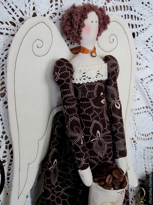 Куклы Тильды ручной работы. Ярмарка Мастеров - ручная работа. Купить Винтажный тильда ангел кофейный. Handmade. Коричневый, тильда