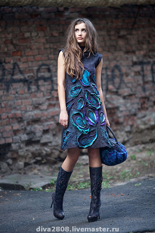 Dresses handmade. Livemaster - handmade. Buy Dress from the collection 'the seasons'.Paisley, wet felting, warm clothes