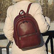 Сумки и аксессуары handmade. Livemaster - original item Burgundy leather backpack Alika. Handmade.