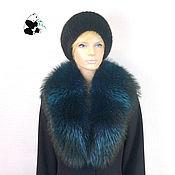 Аксессуары handmade. Livemaster - original item Luxurious blue fur detachable collar boa raccoon fur. Handmade.