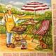 Гриль-повар - сюжетная салфетка -200 Салфетка для декупажа. Отлично подойдет для сервировочной тарелки, тарелки под пиццу или поднос. Декупажная радость