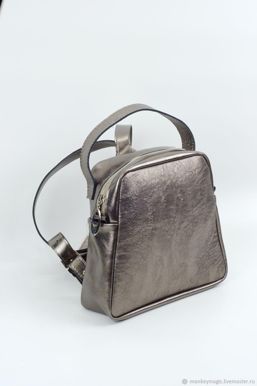Рюкзак из натуральной кожи серебряного цвета, Рюкзаки, Санкт-Петербург,  Фото №1