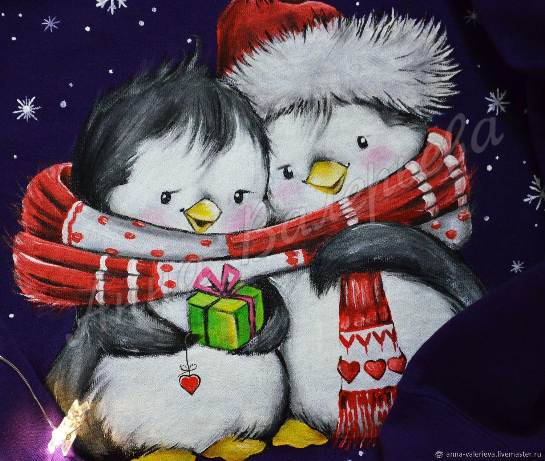 Свитшот с ручной росписью Новогодние пингвины, Свитшоты, Харьков,  Фото №1