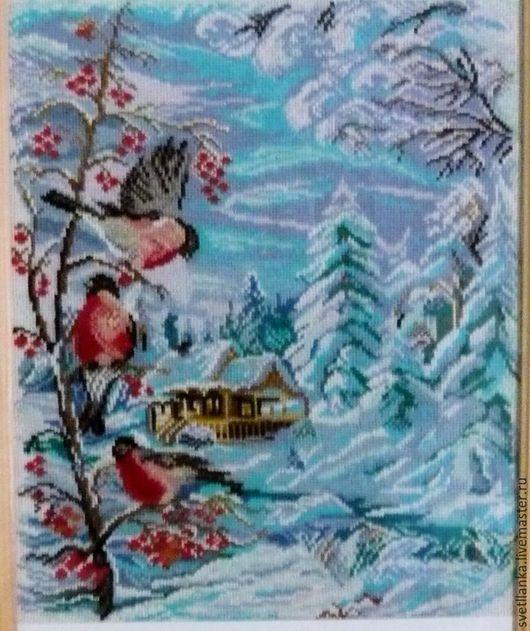 """Пейзаж ручной работы. Ярмарка Мастеров - ручная работа. Купить Вышитая картина """"Зима.Снегири"""". Handmade. Комбинированный, Вышивка крестом"""