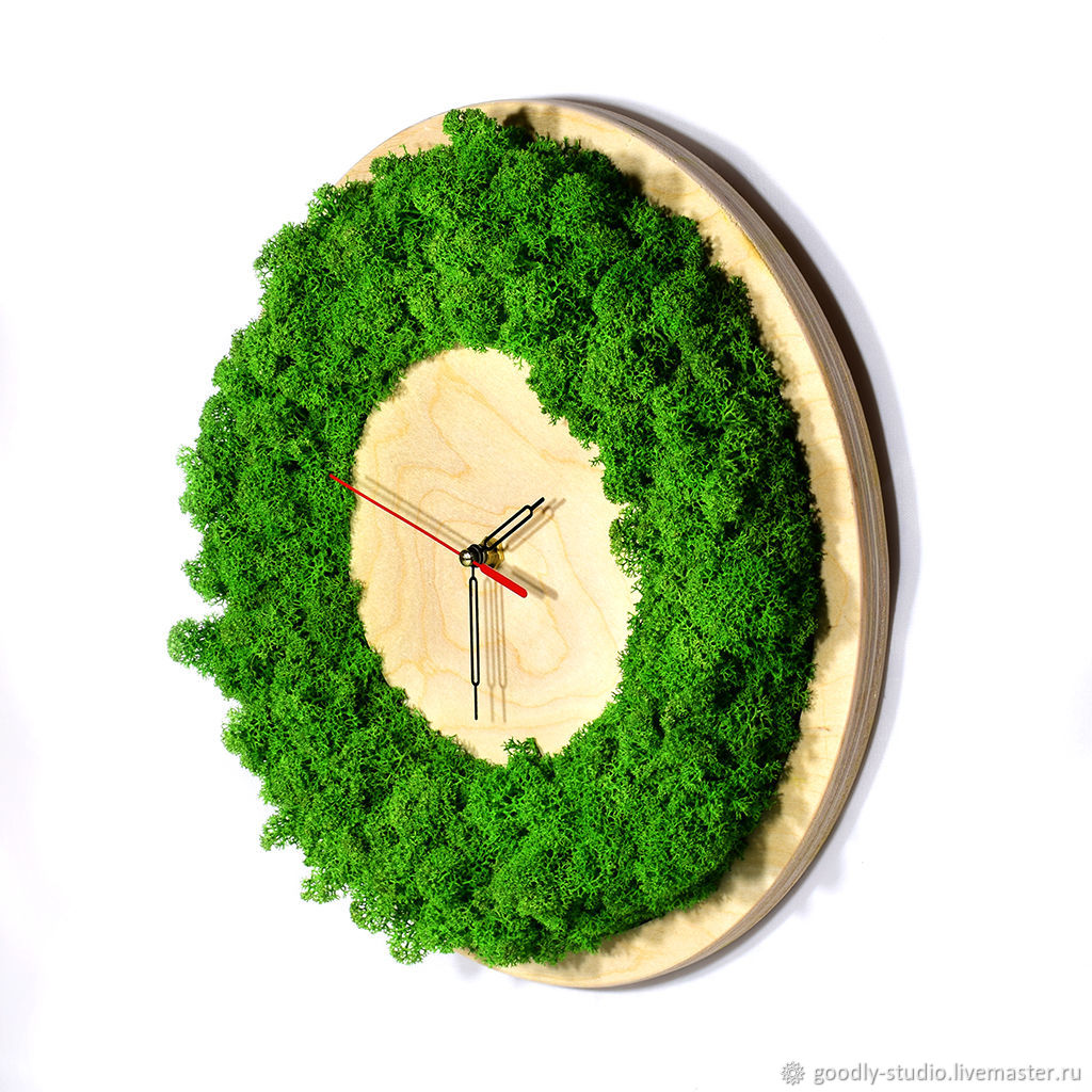 Clock made of wood and moss, Watch, Moscow,  Фото №1