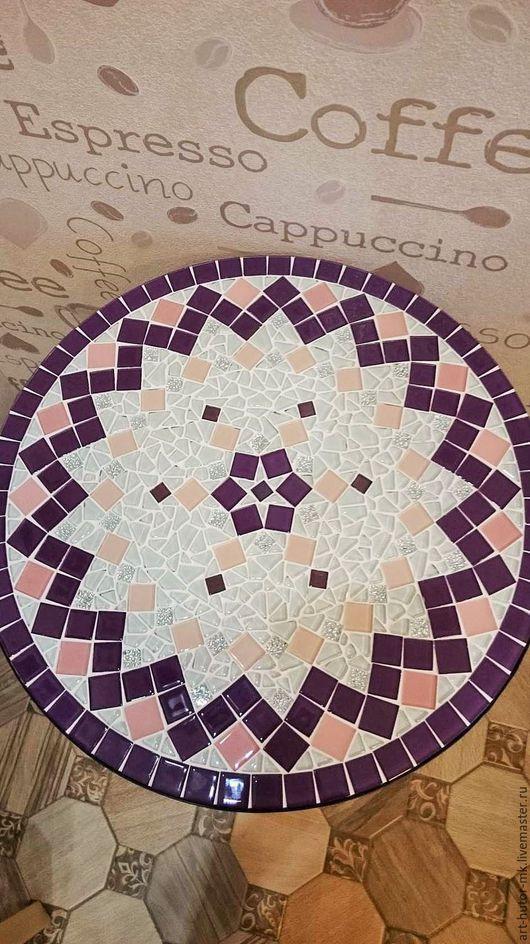 """Мебель ручной работы. Ярмарка Мастеров - ручная работа. Купить Столик с мозаикой """"Хрустальный сиреневый"""". Handmade. Кофейный, круглый"""