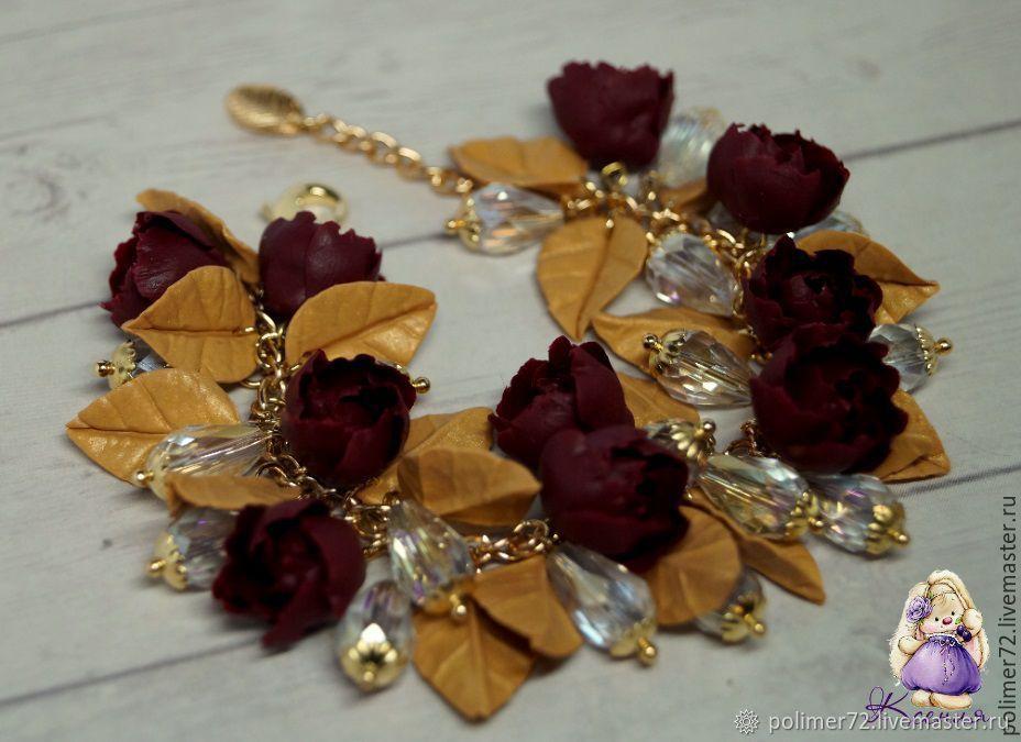 """Браслет """"Бордовые цветы"""""""