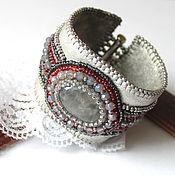 Украшения handmade. Livemaster - original item Bracelet of leather and beads with agate Early morning.. Handmade.