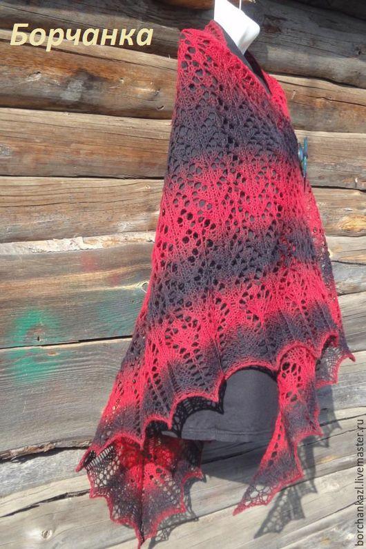 Шали, палантины ручной работы. Ярмарка Мастеров - ручная работа. Купить Шаль Кармен  вязаная спицами из 100% шерсти красная черная. Handmade.