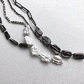 Украшения handmade. Livemaster - original item Necklace two variants of the Path. Natural pearls, sherl, silver, chains. Handmade.