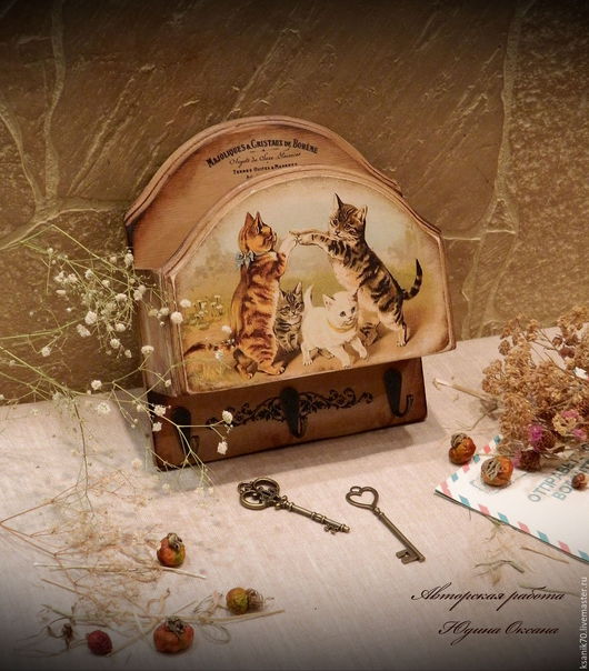 Ключница `Забавная игра` Ручная работа.Автор Юдина Оксана. Декупаж. Для дома.