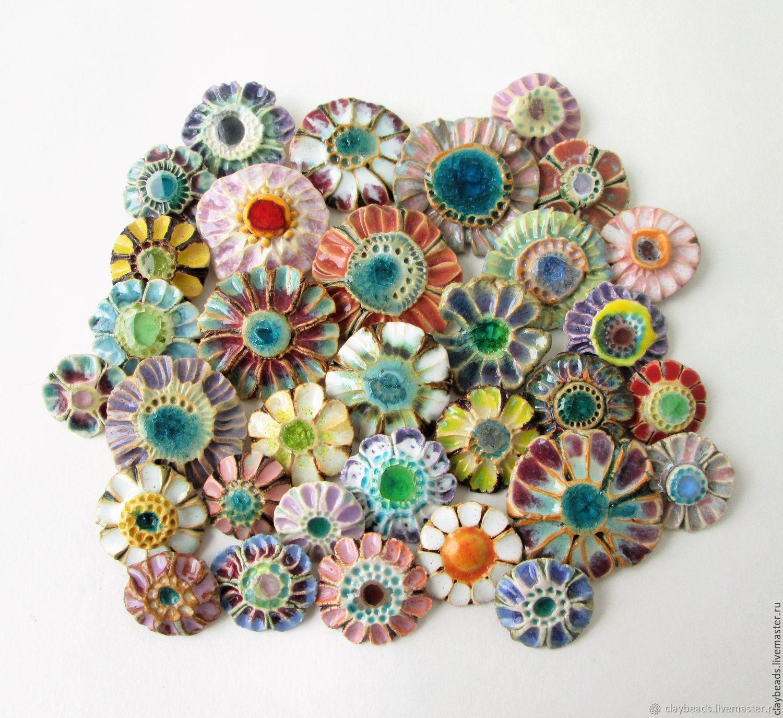Цветы-цветочки, керамические броши, Брошь-булавка, Москва,  Фото №1