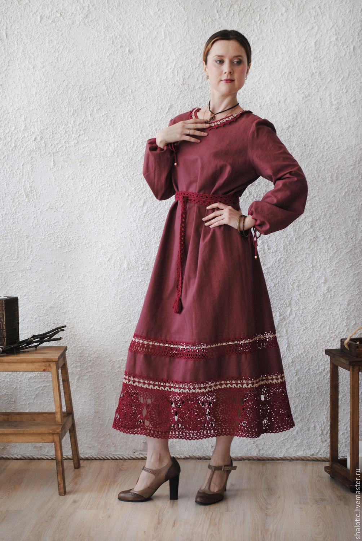 """Льняное платье с кружевом """"Вишневый день"""", Dresses, Rybinsk,  Фото №1"""