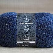 Материалы для творчества ручной работы. Ярмарка Мастеров - ручная работа Миленвайт Твид 128 темно-синий Meilenweit TWEED 128. Handmade.
