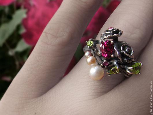 Кольца ручной работы. Ярмарка Мастеров - ручная работа. Купить Кольцо Дикие розы. Handmade. Бордовый, кольцо из серебра, розы