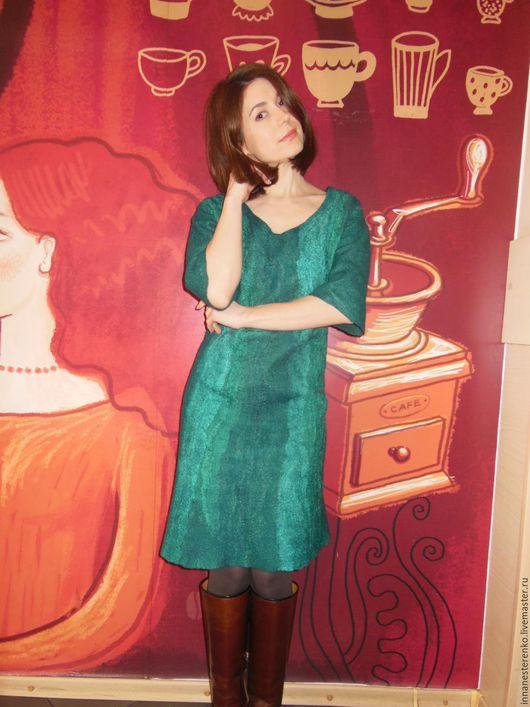 Платья ручной работы. Ярмарка Мастеров - ручная работа. Купить Валяное платье. Handmade. Морская волна, теплое платье
