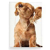 Канцелярские товары ручной работы. Ярмарка Мастеров - ручная работа Кожаная обложка на паспорт Музыкальный пес, Собака. Handmade.