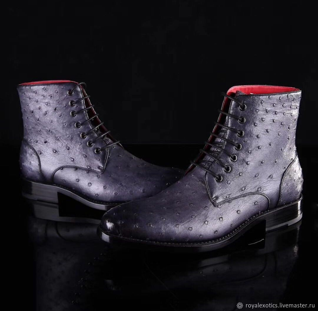 Ostrich leather ankle boots, premium, Boots, Tosno,  Фото №1