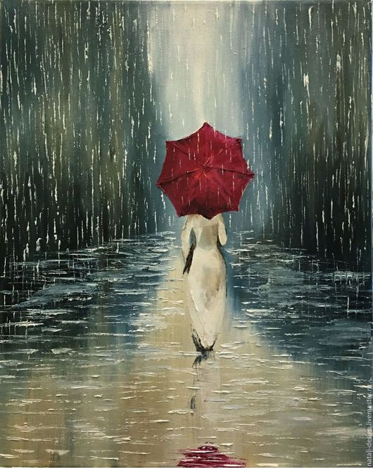 Город ручной работы. Ярмарка Мастеров - ручная работа. Купить Девушка с красным зонтом картина маслом дождь. Handmade.