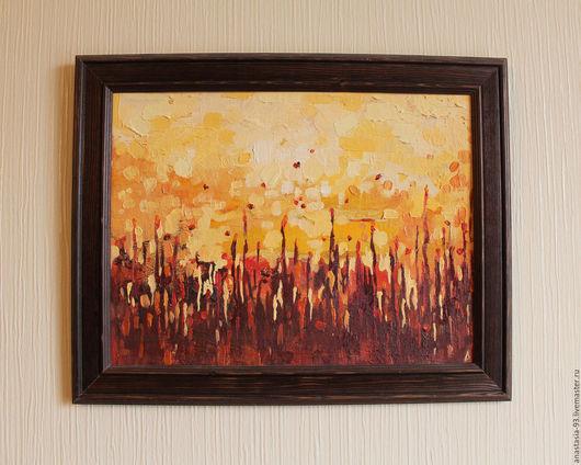 Абстракция ручной работы. Ярмарка Мастеров - ручная работа. Купить Солнце в траве. Handmade. Оранжевый, масляная живопись, солнце, пыльца