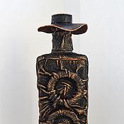 Посуда ручной работы. Ярмарка Мастеров - ручная работа Бутылка декоративная в коже. Handmade.