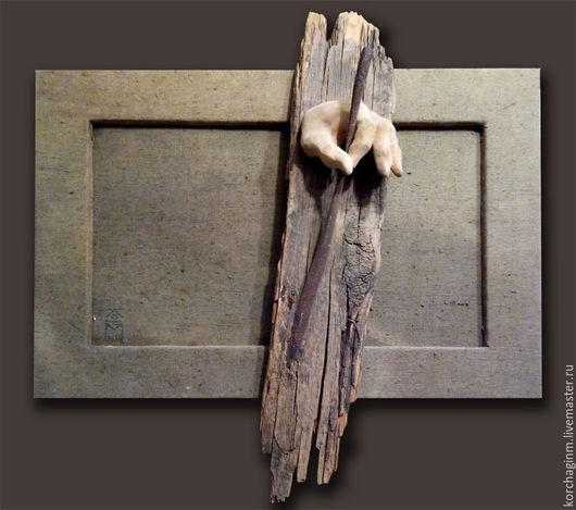 Символизм ручной работы. Ярмарка Мастеров - ручная работа. Купить Возврат в прошлое. Handmade. Старая доска, пальцы, брезент