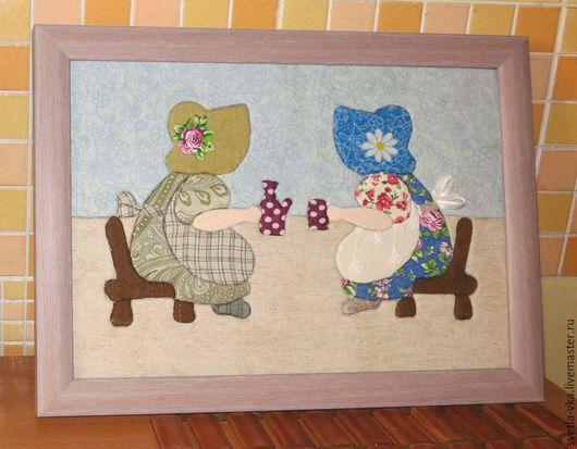 """Люди, ручной работы. Ярмарка Мастеров - ручная работа. Купить Картина """"Кумушки за чаем"""". Handmade. Ретро"""