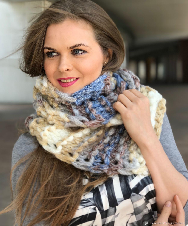 Объемный шарф ручного вязания