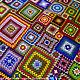 """Текстиль, ковры ручной работы. Яркий разноцветный вязаный плед """"Краски жизни"""". Мастерская тепла. Наталья. Ярмарка Мастеров. Разноцветный"""