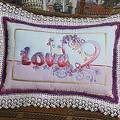 """Подушки ручной работы. Ярмарка Мастеров - ручная работа Подушка-картина """"Love"""". Handmade."""