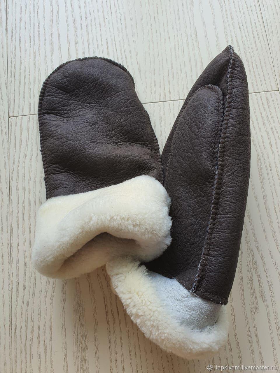 Варежки кожаные из овчины мужские коричневые, Варежки, Москва,  Фото №1