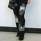 Одежда ручной работы. Ярмарка Мастеров - ручная работа Черные джинсы из коллекции Печворк на каждый день. Handmade.