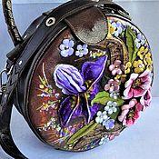 Classic Bag handmade. Livemaster - original item Bag leather round